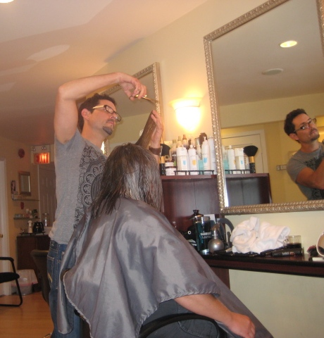 Patrick, of XYZ Salon, going to work.