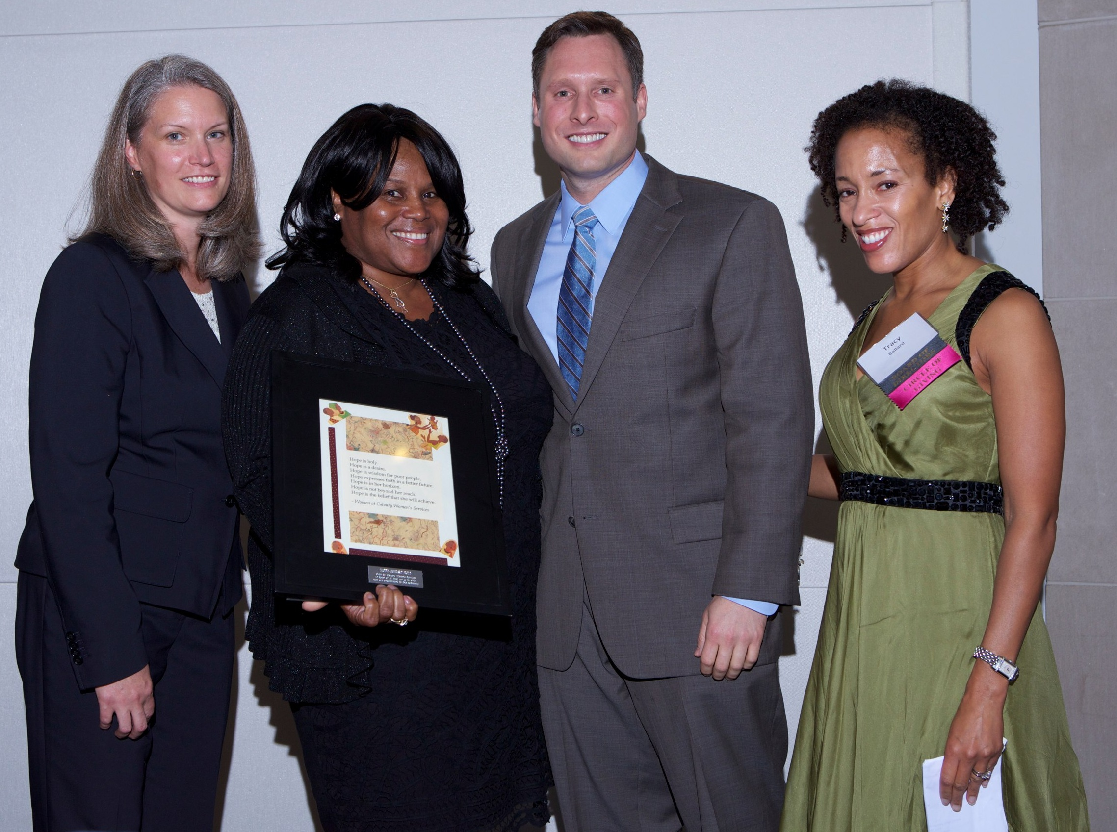 Executive Director Kris Thompson with honoree Sandra Evers-Manly, emcee Steve Rudin of ABC7/WJLA-TV, and Board President Tracy Ballard.