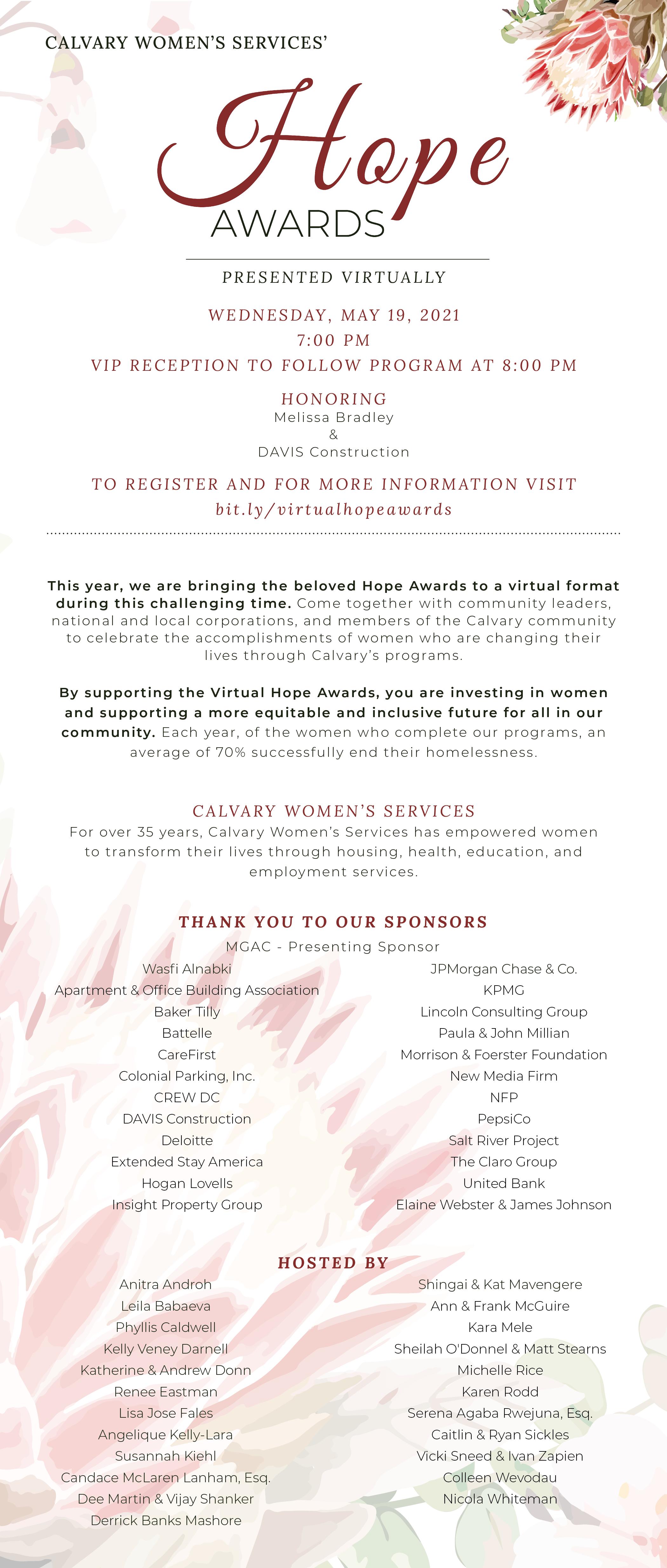 Image of Hope Awards Invitation, details found at link below